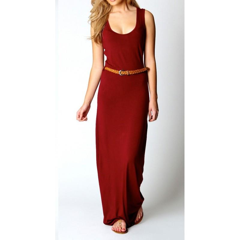 Vestido Casual Longo Maxi Dress Vermelho Malha Gola em U
