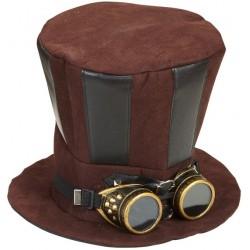 Chapéu Steampunk Masculino Cilíndrico Marrom com Goggles Retrô Halloween Cosplay