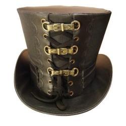 Chapéu Steampunk Marrom Couro com Fivelas Halloween Carnaval Cosplay