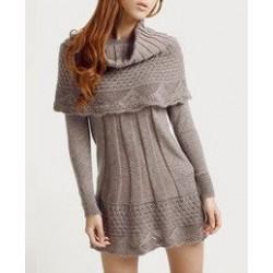 Vestido Lã Curto Inverno Mangas Compridas