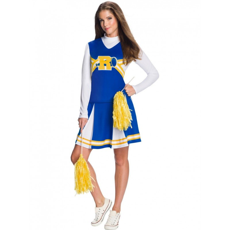 Fantasia Adulto Feminina Lider de Torcida Azul Amarela e Branca Carnaval Halloween