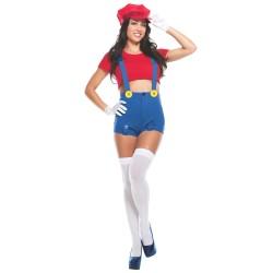 Fantasia Adulto Feminina Super Mario Geek Sexy Carnaval Halloween Cosplay
