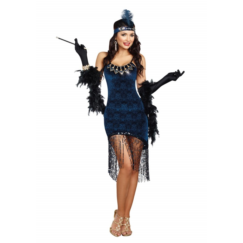Fantasia Feminina Burlesca Azul Halloween Carnaval Festa Importada