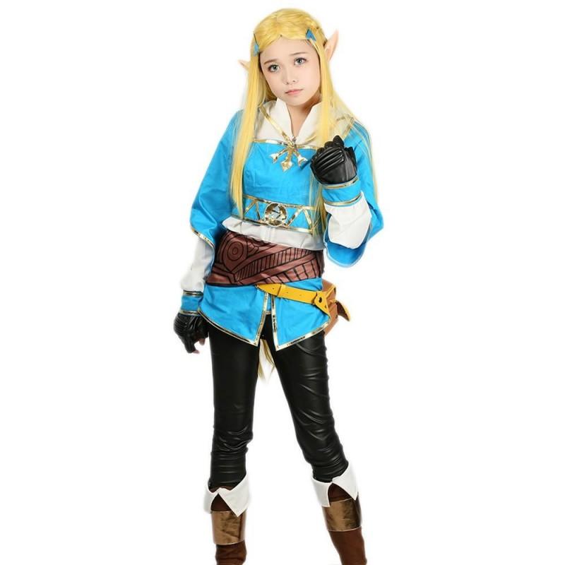 Fantasia Feminina Infantil Princesa Zelda Cosplay Halloween Carnaval