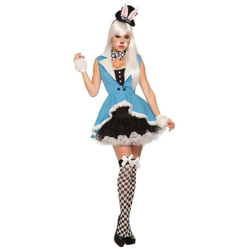 Fantasia Feminina Adulto Coelhinha Branca Halloween Carnaval