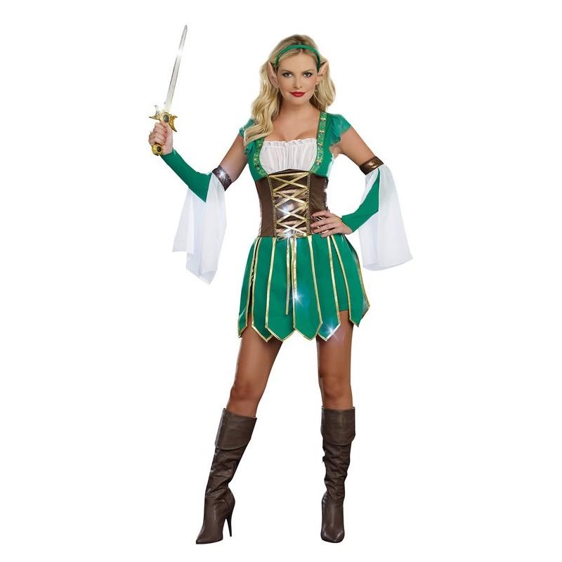 Fantasia Feminina Adulto Guerreira dos Elfos Halloween Carnaval