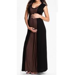 Vestido Longo Maxi Dress Gestantes Fluido Marron e Preto