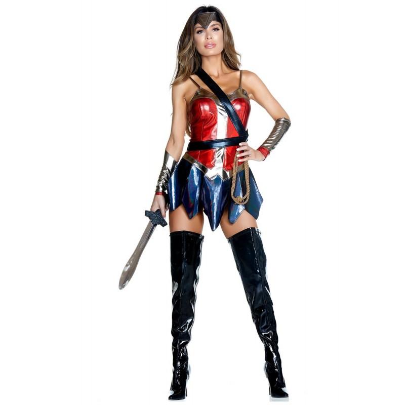 Fantasia Feminina Adulto Mulher Maravilha Sexy Super Heroína Halloween Carnaval