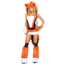 Fantasia Adulto Feminina Raposa Laranjada Sexy Fox Halloween Carnaval