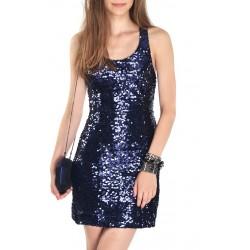 Vestido Festa Paetê Curto Azul