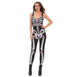Fantasia Feminina Esqueleto Halloween Carnaval Dia das Bruxas