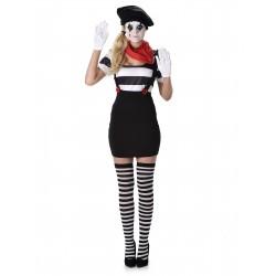 Fantasia Feminina Mímico Palhaço Halloween Carnaval Dia das Bruxas