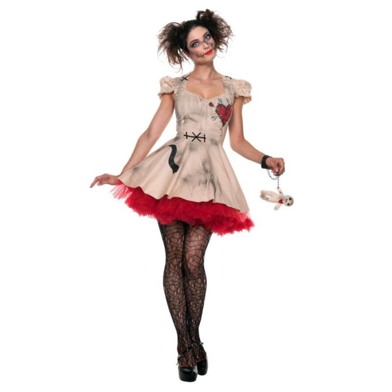 Fantasia Feminina Boneca Voodoo Halloween Carnaval Dia das Bruxas