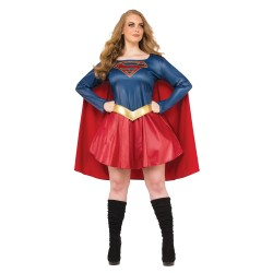 Fantasia Feminina Supergirl Plus Size Heroína Halloween Carnaval Dia das Bruxas