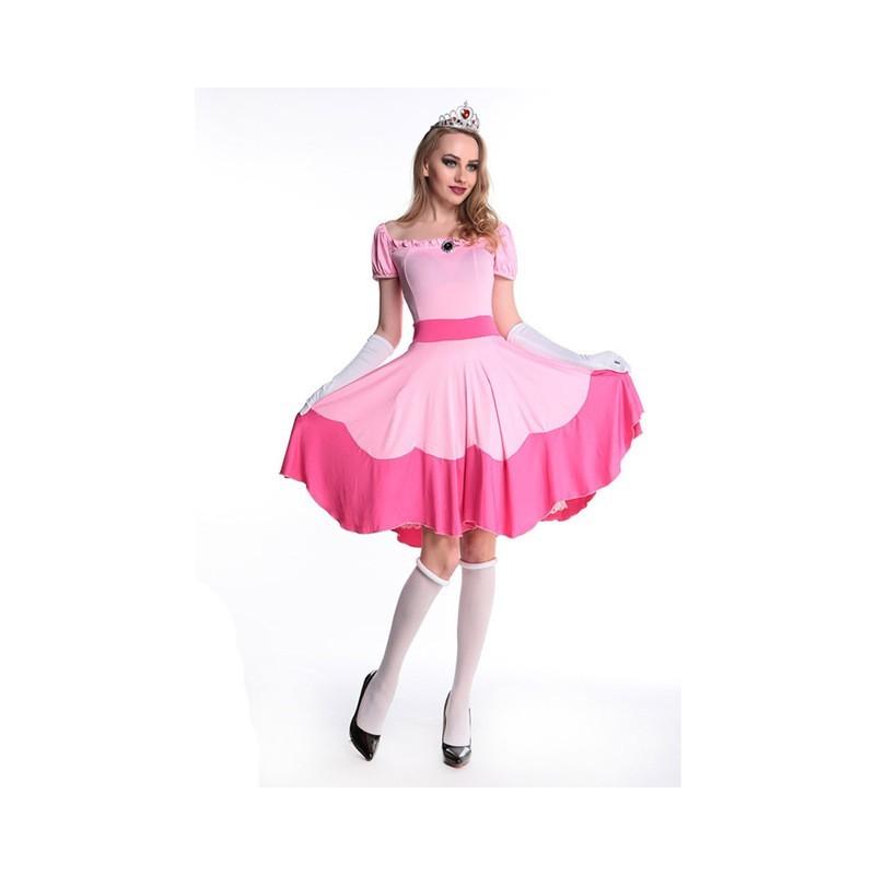 Fantasia Feminina Princesa Peach Super Mario Halloween Carnaval Dia Das Bruxas