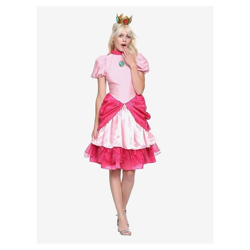 Fantasia Adulto Feminina Princesa Peach Super Mario Halloween Carnaval Dia Das Bruxas