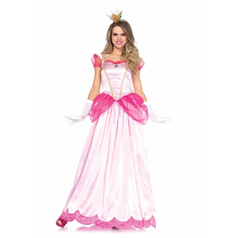 Fantasia Feminina Adulto Princesa Peach Super Mario Halloween Dia Das Bruxas Carnaval