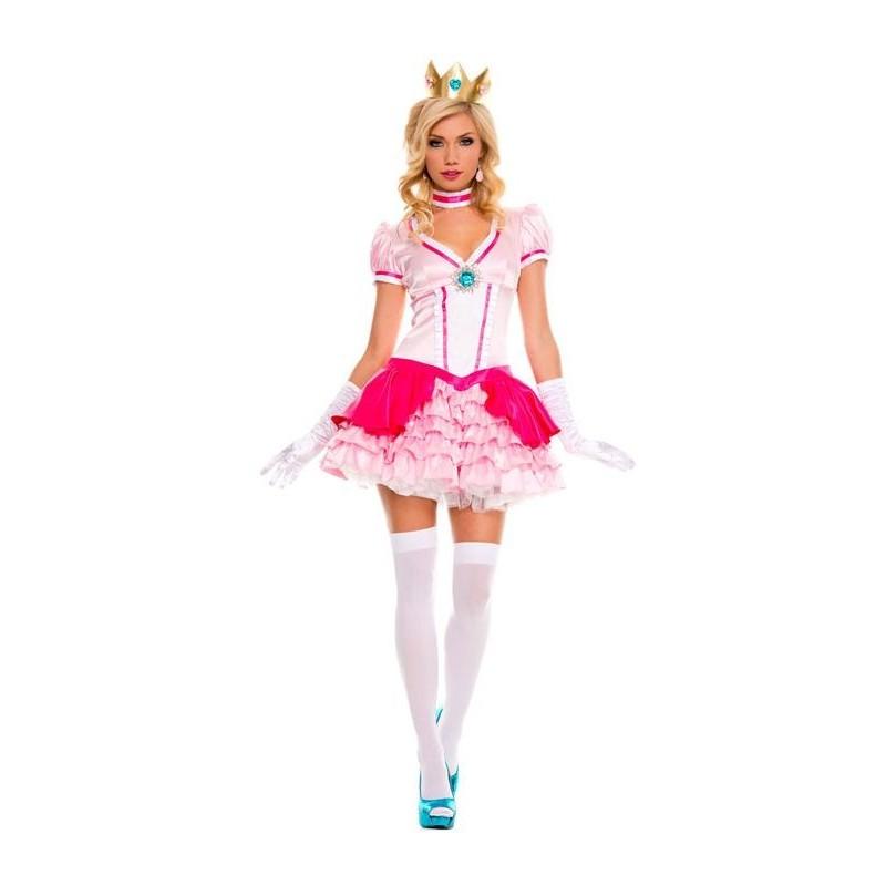 Fantasia Feminina Adulto Princesa Peach Sexy Super Mario Halloween Dia Das Bruxas