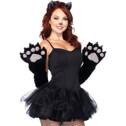 Fantasia Feminina Adulto Gata Preta Sexy Halloween Dia das Bruxas Carnaval