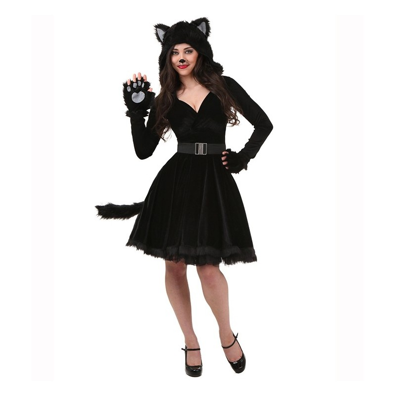 Fantasia Feminina Adulto Gata Preta Vestido Halloween Dia das Bruxas Carnaval