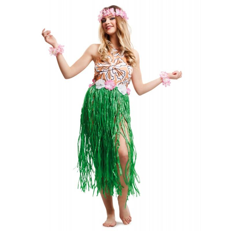 Fantasia Feminina Havaiana Saia Verde Carnaval Festa a Fantasia Halloween