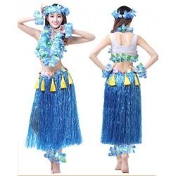 Fantasia Adulto Feminina Havaiana Azul Festa do Havaí Carnaval