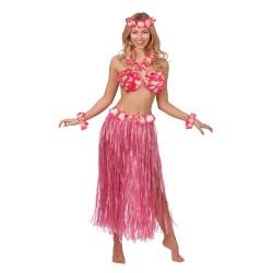 Fantasia Adulto Feminina Havaiana Rosa Festa do Havaí Carnaval