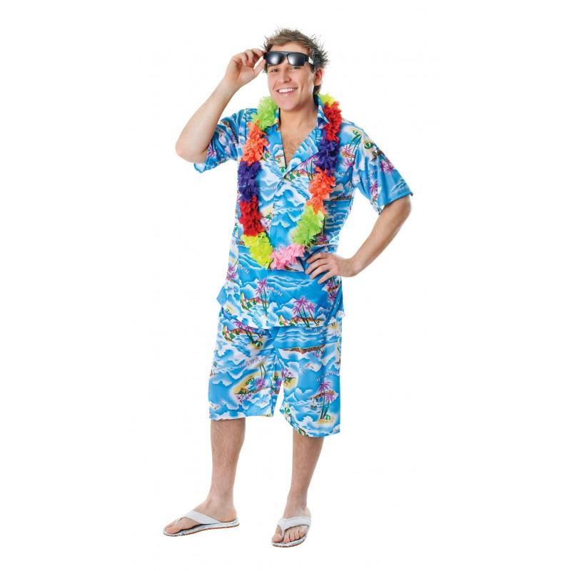 Fantasia Adulto Masculina Havaiano Colar Floral Festa do Havai Carnaval