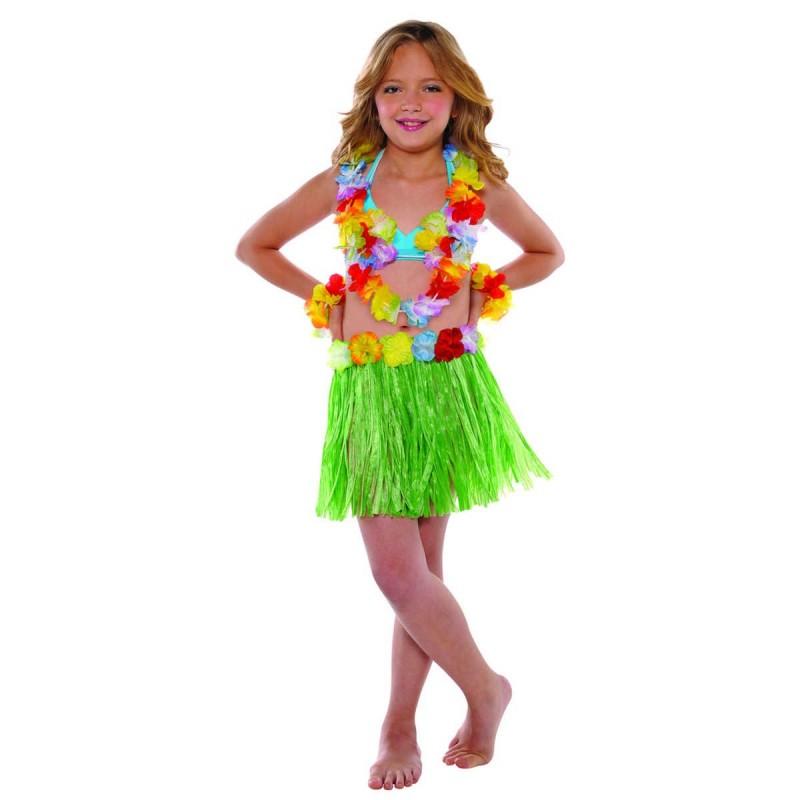Fantasia Infantil Menina Havaiana Saia Verde Festa Havaí Carnaval