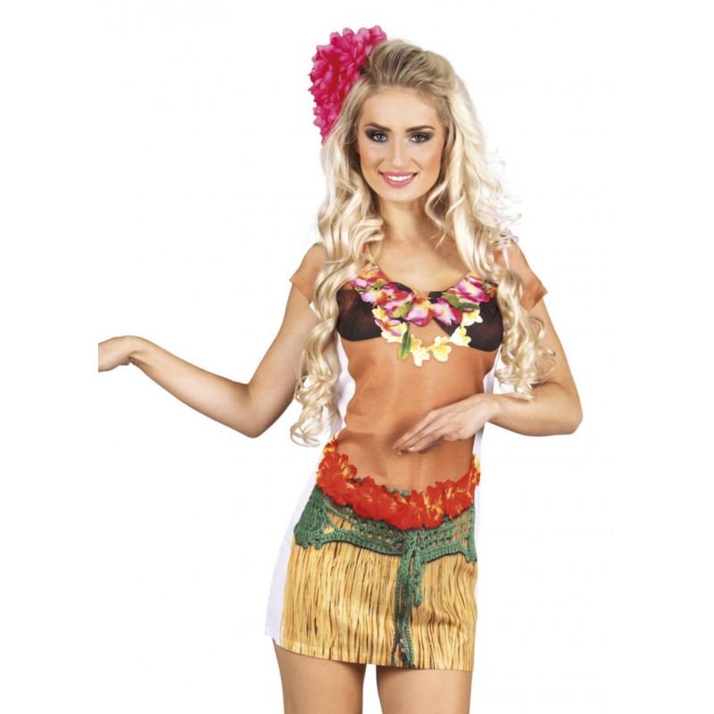 Fantasia Feminina Havaiana Vestido Corpo Dançarina Hula Festa Havai Carnaval