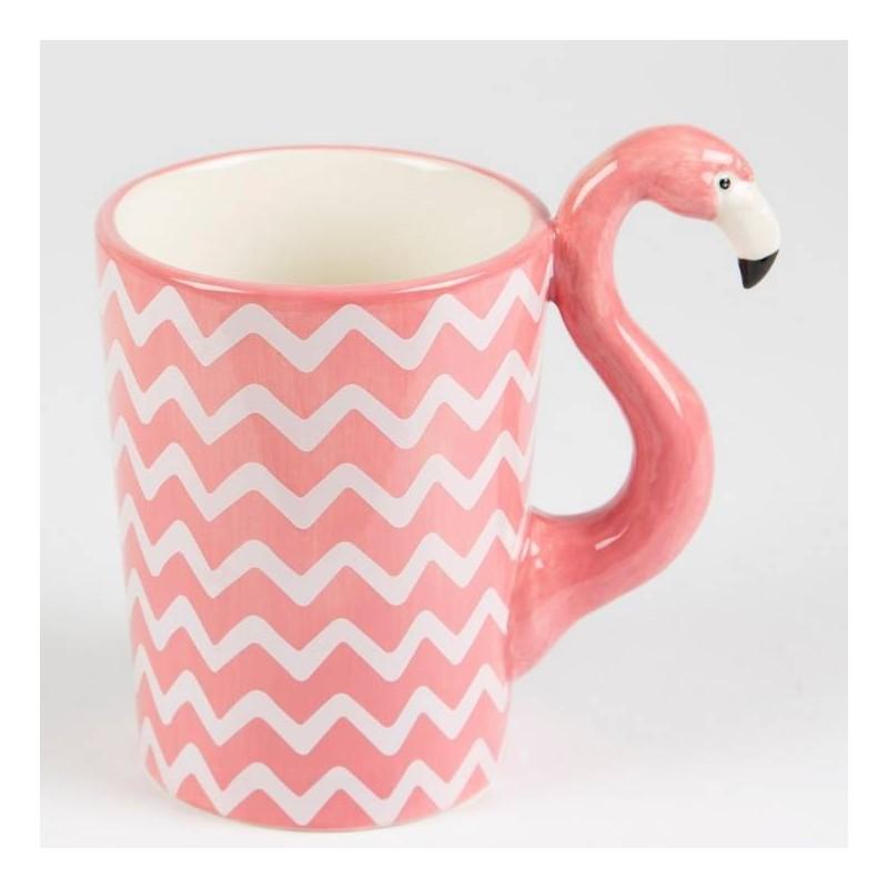 Caneca Porcelana Flamingo Alça Decorada Rosa e Branca Decorativa