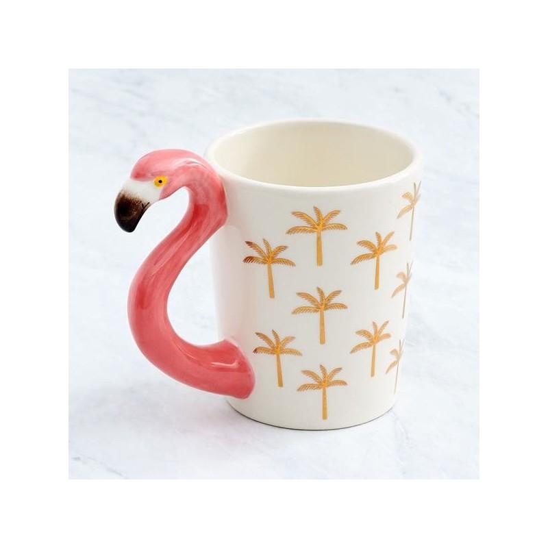 Caneca Café Porcelana Flamingo Palmeiras Alça Decorada Rosa e Branca Decorativa