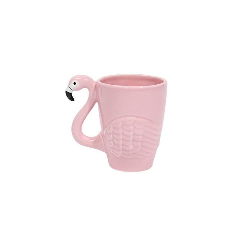Caneca Café Porcelana Flamingo Palmeiras Alça Decorada Rosa Decorativa