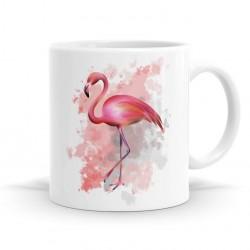 Caneca Café Porcelana Tema Flamingo Branca e Rosa Decorativa