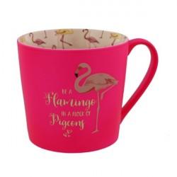 Caneca Café Porcelana Tema Flamingo Pink Desenhos no Interior Decorativa