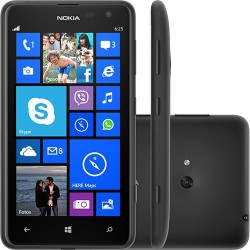 "Smartphone Nokia Lumia 625 Preto Dual Core 1.2GHz Tela 4.7"" Windows Phone 8 5MP 4G Wi-Fi Bluetooth GPS"