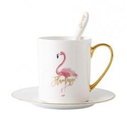 Caneca Café Porcelana Branca Flamingo com Pires e Colher Decorativa