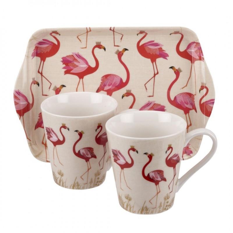 Conjunto de Canecas Porcelana Flamingo com Bandeja Decorativa