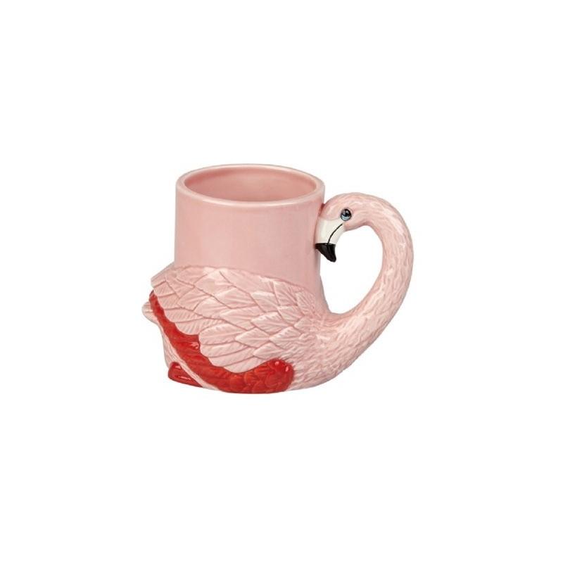 Caneca Cerâmica Flamingo Rosa Alto Relevo Pintada a Mão Decorativa