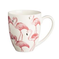 Caneca Café Porcelana Branca Desenhos de Flamingos Rosa Decorativa