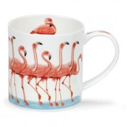 Caneca Cerâmica Flamingos Rosas Branca Decorativa