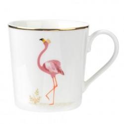 Caneca Cerâmica Flamingo Rosas Branca Borda Dourada Delicada Decorativa