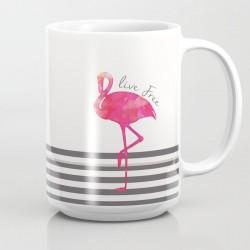 Caneca Cerâmica Flamingo Rosas Branca e Prata Delicada Decorativa