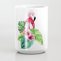 Caneca Cerâmica Flamingo Flores Branca Decorativa