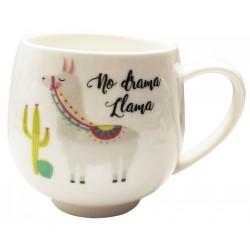Caneca Cerâmica Lhama Bege No Drama Lhama Decorativa