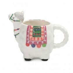 Caneca Cerâmica Formato de Lhama Colorida Decorativa