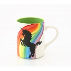 Caneca Cerâmica Desenho de Unicórnio Arco-Íris Presente Decorativa