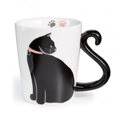 Caneca Porcelana Gato Preto Decorativa Cat Lovers Presente