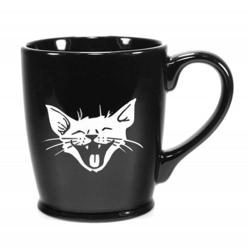 Caneca Porcelana Preta Gato Sorridente Decorativa Cat Lovers Presente