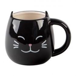 Caneca Porcelana Preta com Carinha e Orelha de Gato Decorativa Cat Lovers Presente